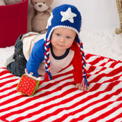 Red Heart Patriotic Stripes Blanket & Hat, S