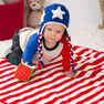 Red Heart Patriotic Stripes Blanket & Hat, S in color
