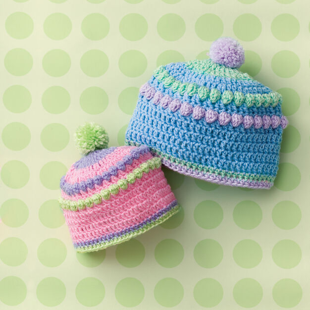 Red Heart Baby Bobbles Hat in color