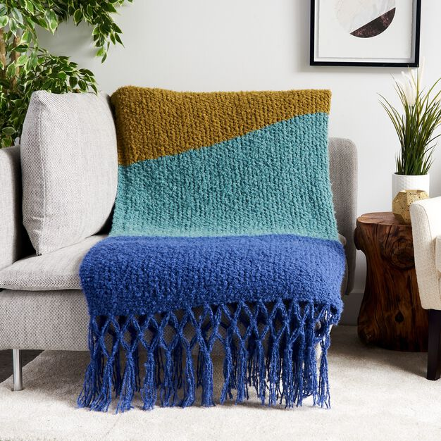 Bernat Knit Simple Texture Stripes Blanket in color