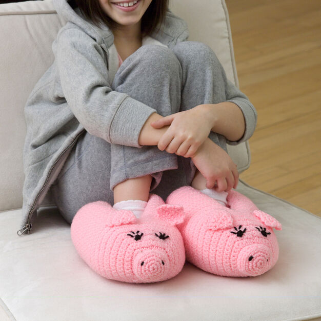 Red Heart Pudgy Piggy Slippers in color