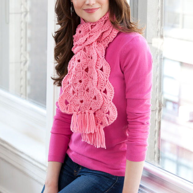 Red Heart With Hope Scarf in color