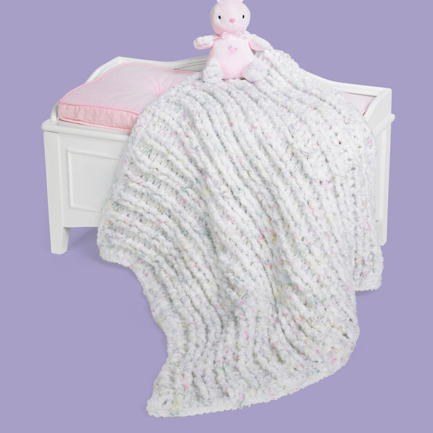 Red Heart Ribbed Baby Blanket in color