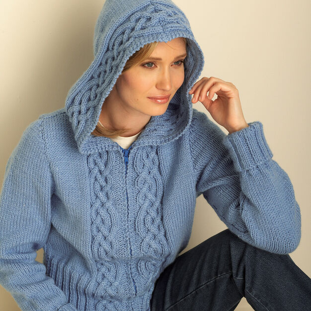 Bernat Cozy Cable Hooded Cardigan, XS/S in color