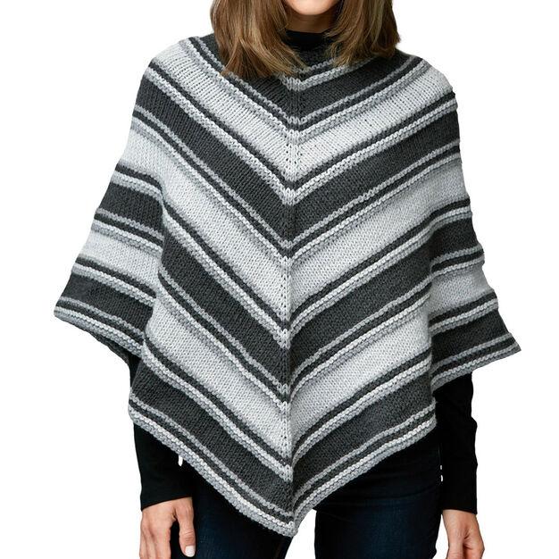 Caron Fade to Grey Knit Poncho, XS/S/M