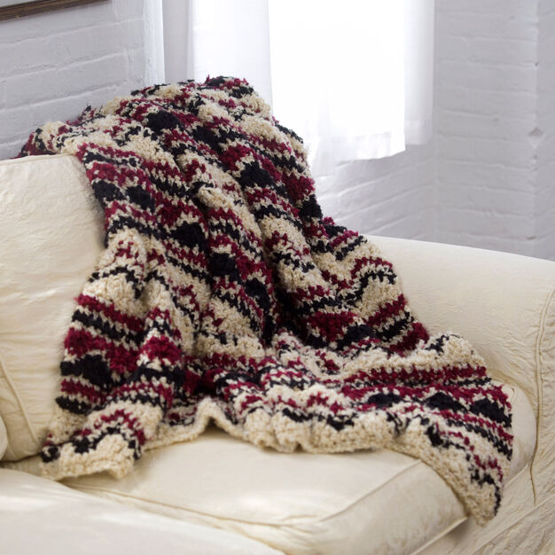 Red Heart Soft Wave Chevron Throw in color