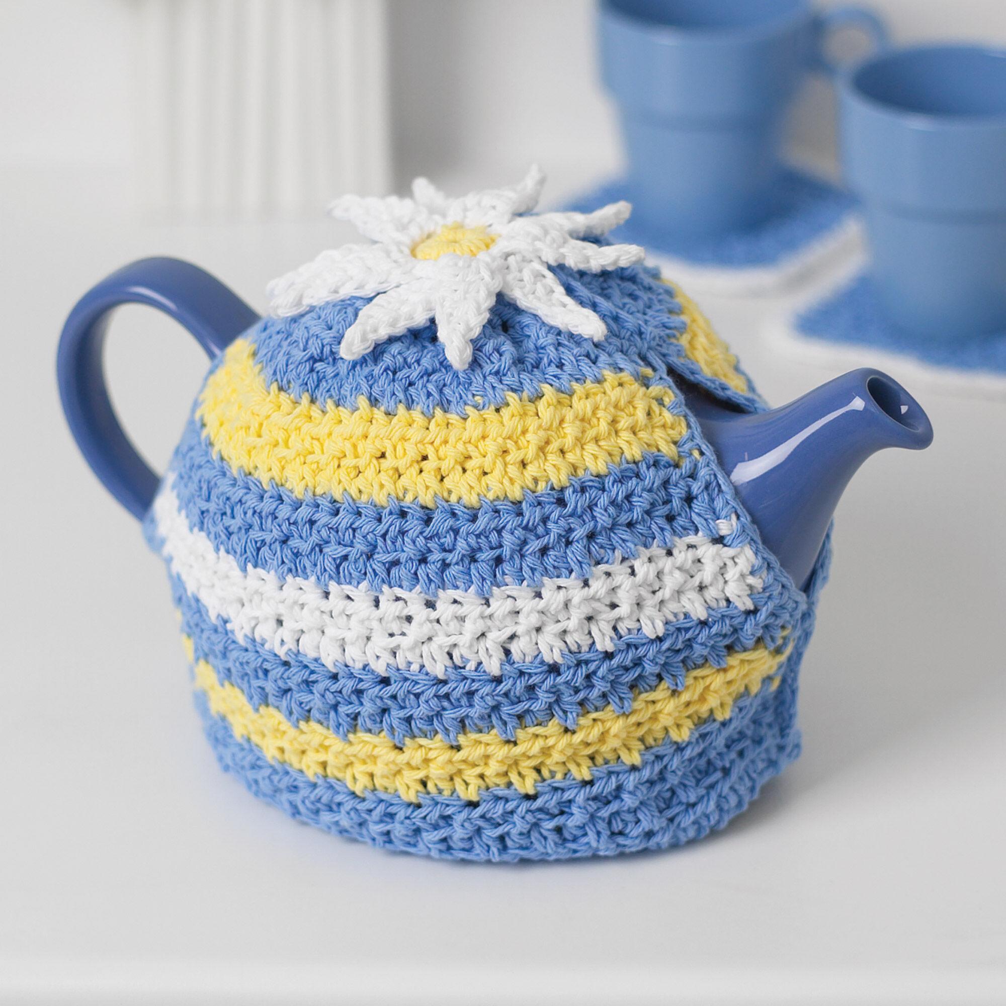 Lily sugarn cream daisy motif tea cozy yarnspirations lily sugar39n cream daisy motif tea cozy izmirmasajfo