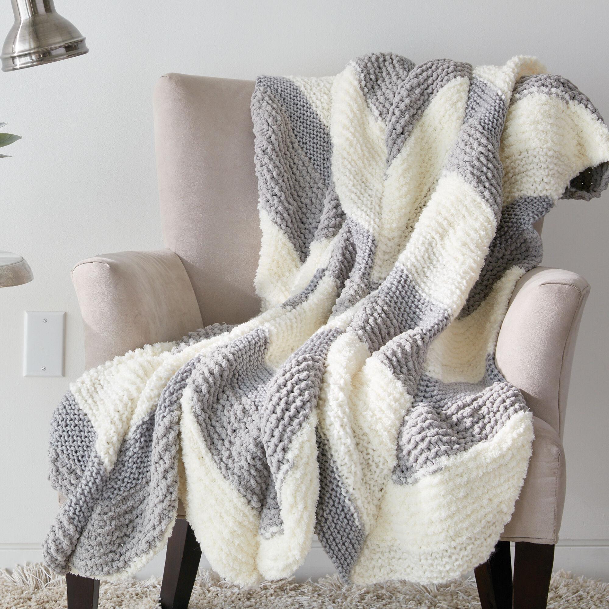 Bernat Knit Bias Stripe Blanket Pattern   Yarnspirations