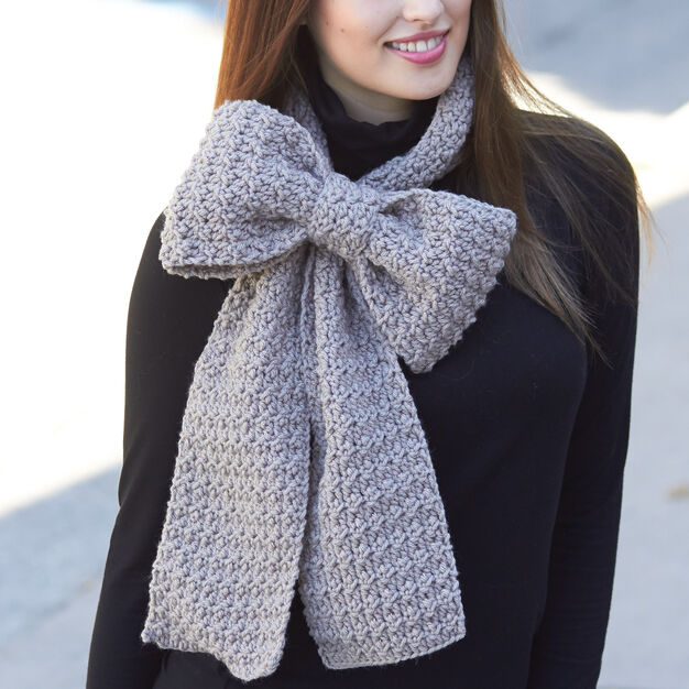 Bernat Bow Scarf in color