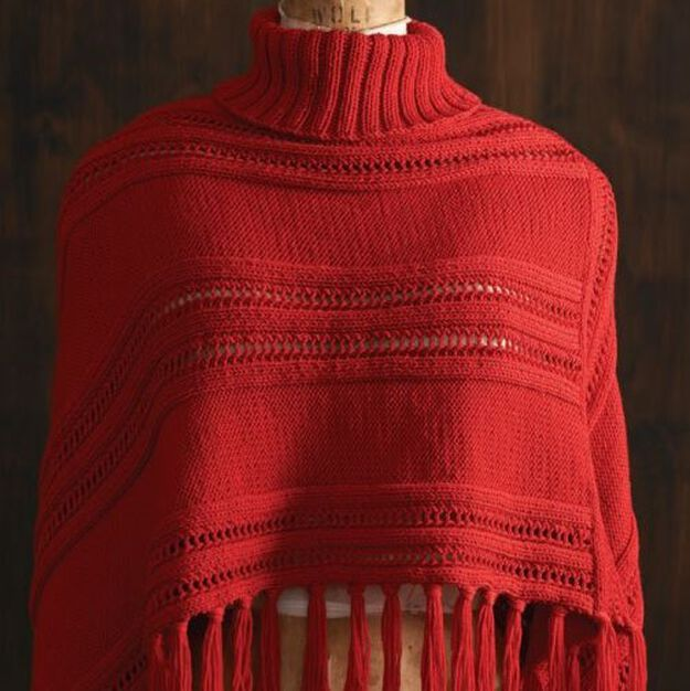 Red Heart Roll Neck Poncho, S in color