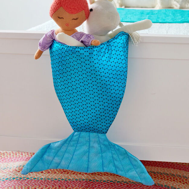 Dual Duty Mermaid Tail Hanging Bin in color