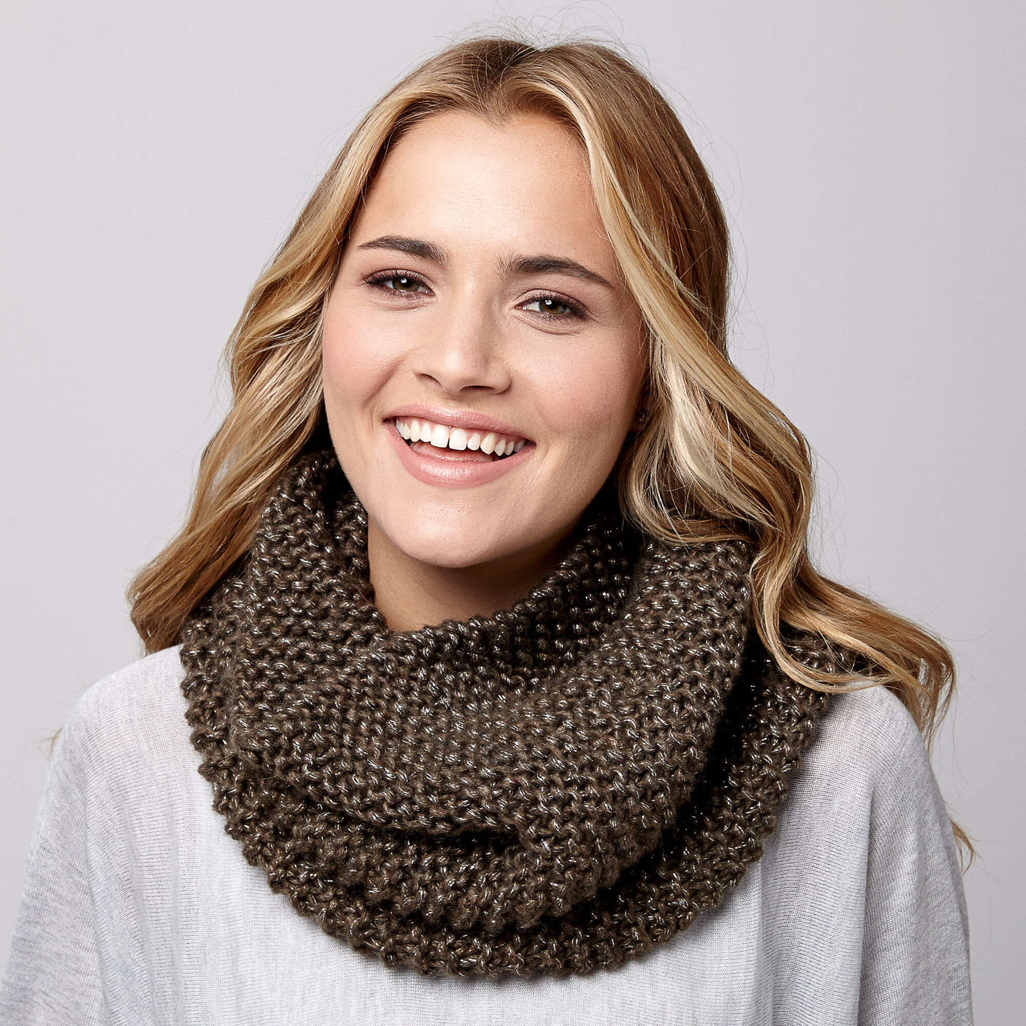 Bernat Shimmer Cowl in easy garter stitch knitting.