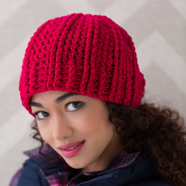 Red Heart Ridged Crochet Hat, M