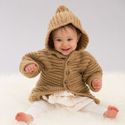 Red Heart Hooded Playful Cardi, 6 mos