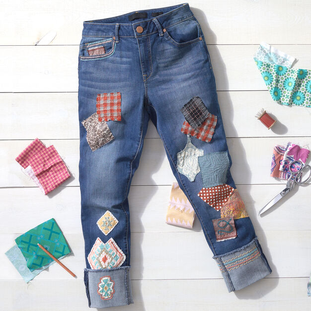 Coats & Clark Patchwork Patched Jeans in color