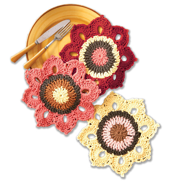 Lily Sugar'n Cream Woodsy Sunflower Crochet Dishcloths in color