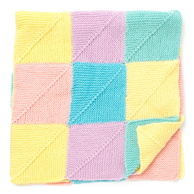 knitted mitered squares baby blanket in aran weight yarn and pastel colors