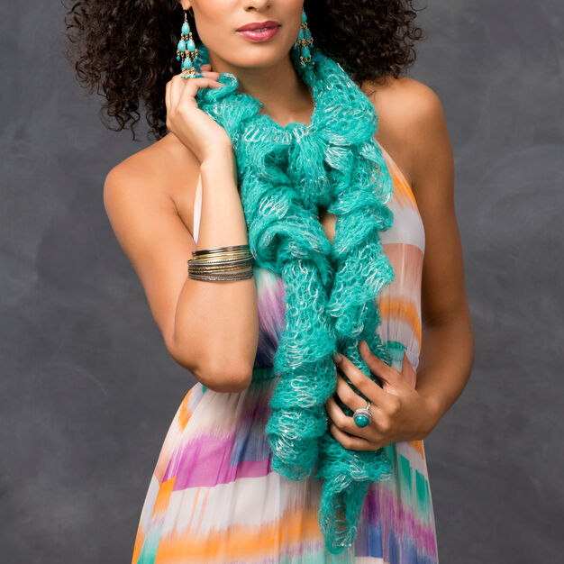 Red Heart Sparkling Sea Scarf in color