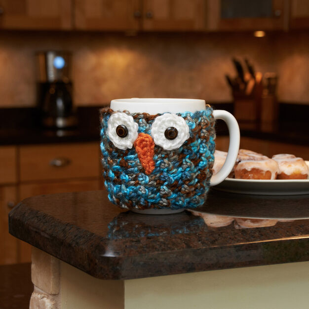 Red Heart Woodland Owl Cup Cozy in color