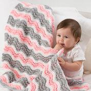 Red Heart Baby Girl Chevron Blanket