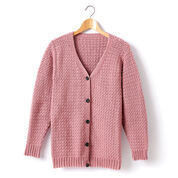 Caron Adult Crochet V-Neck Cardigan, Plum Wine - XS/S
