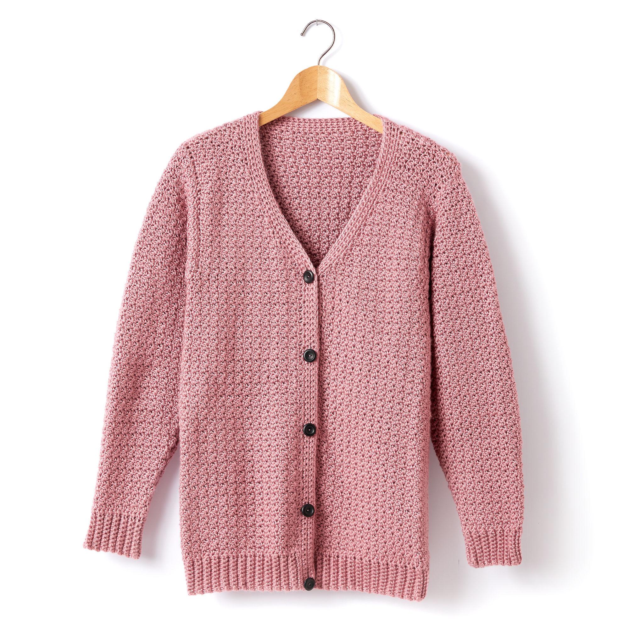 Caron Adult Crochet V Neck Cardigan Plum Wine Xss Yarnspirations