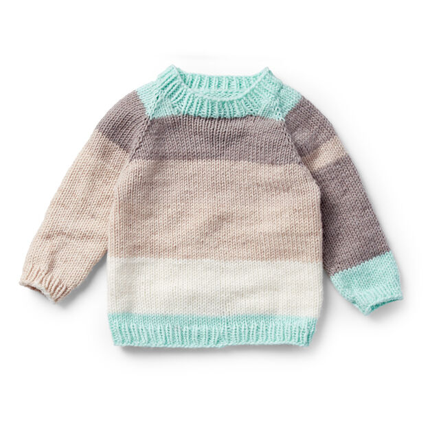 Caron Top Down Knit Pullover 6 Mos Pattern Yarnspirations