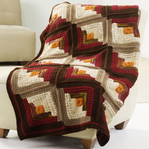 Red Heart Log Cabin Comfort Throw in color