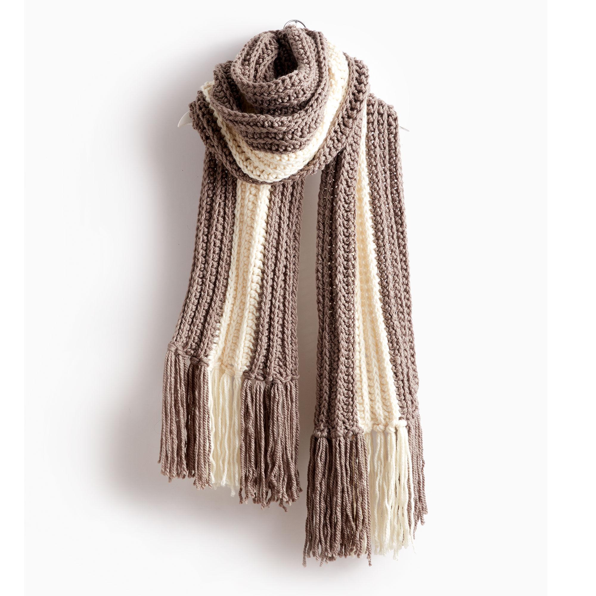 Bernat Highline Crochet Super Scarf, Taupe Gray/Natural   Yarnspirations