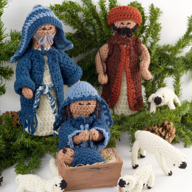 Red Heart Nativity Set in color