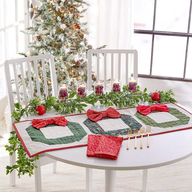 Coats & Clark Trio of Wreaths Quilted Table Runner or Wall Hanging in color