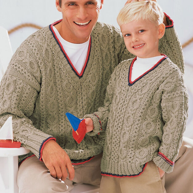 Patons Our Guys' Sailing Sweaters, 4 yrs in color