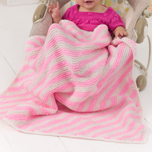 Red Heart Peppermint Stripes Blanket in color
