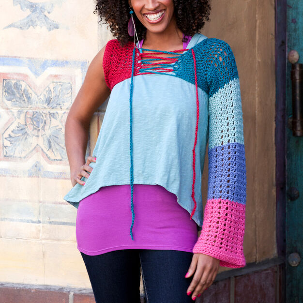 Red Heart Bell Single-Sleeve Shrug, S/M in color