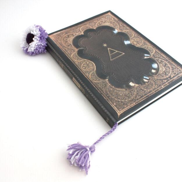 Bernat Pompom Flower Bookmark in color