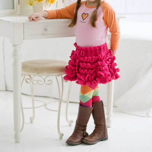 Red Heart Too Cute Ruffled Skirt, 2 yrs in color