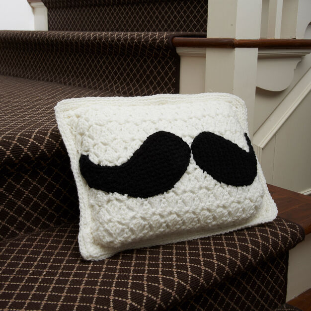 Red Heart Mustache Pillow
