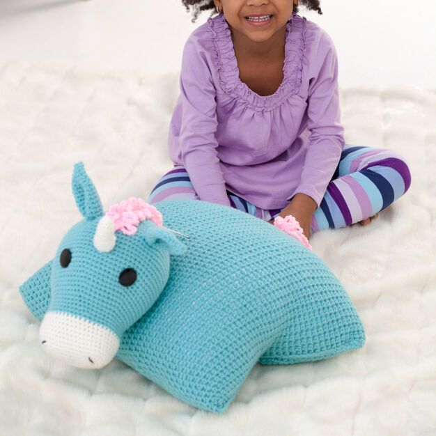 Red Heart Unicorn Pillow Pal in color