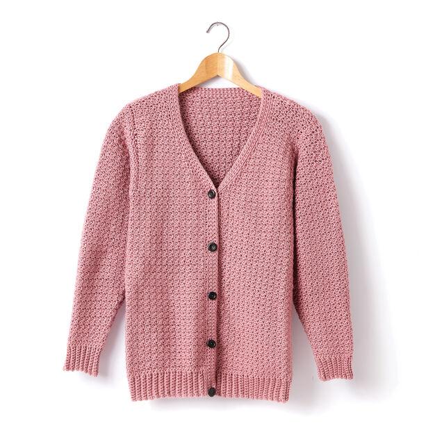 Caron Child's Crochet V-Neck Cardigan, Size 2 in color