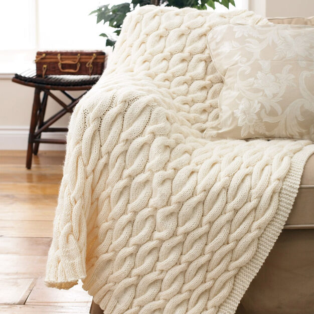Patons Knit Cable Blanket in color