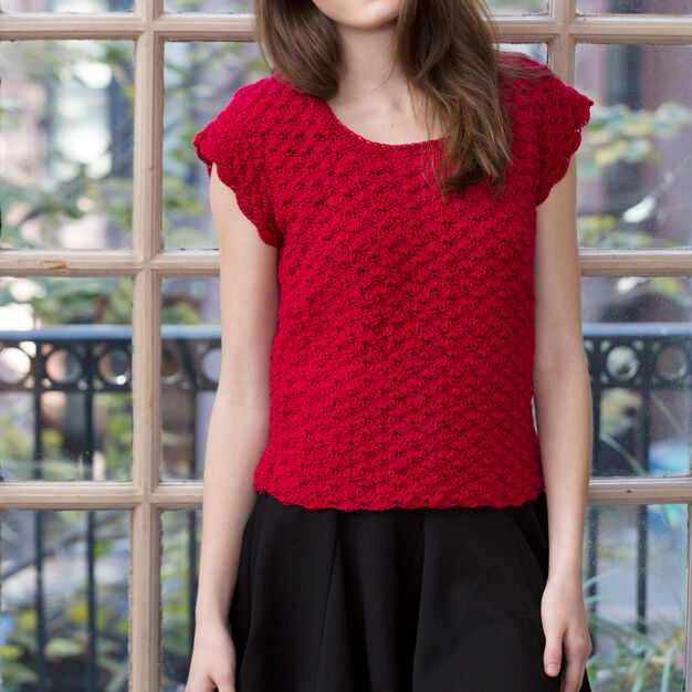Red Heart Shell Stitch Top, XS in color