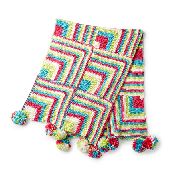 Red Heart Happy Mitered Squares Knit Throw in color