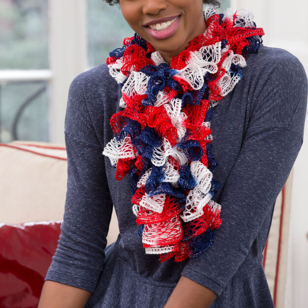 Red Heart Patriotic Ruffles, S in color