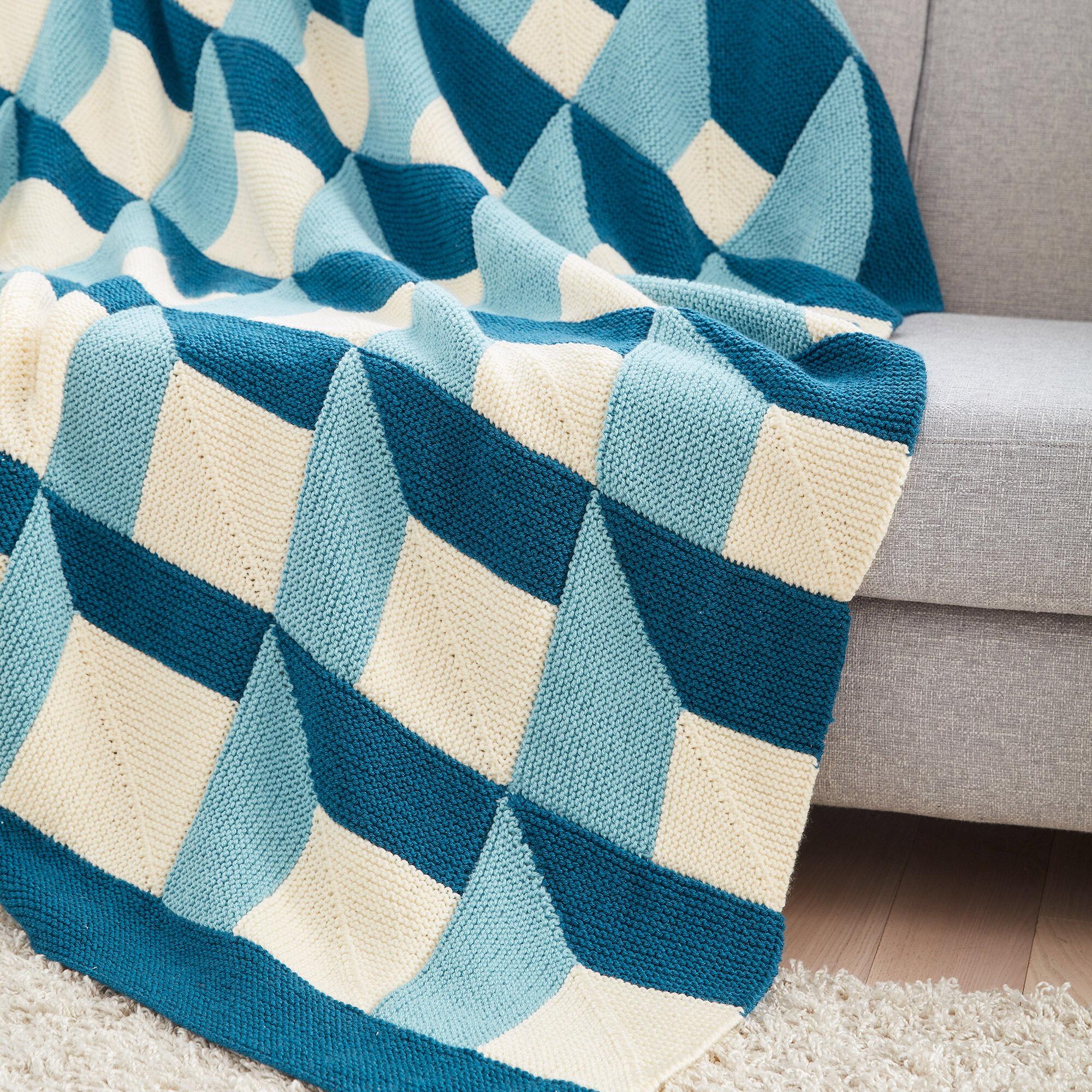 Patons Knit Shadowbox Blanket Pattern   Yarnspirations
