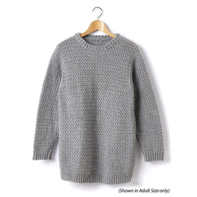 Caron Child's Crochet Crew Neck Pullover, Size 2
