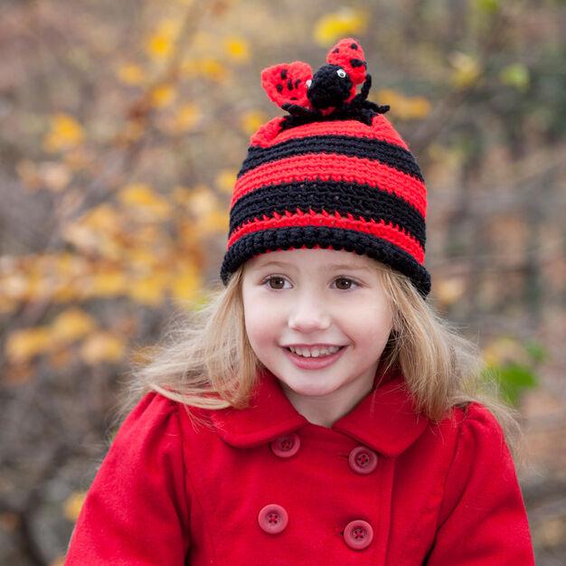 Red Heart Ladybug Hat, Crochet - S