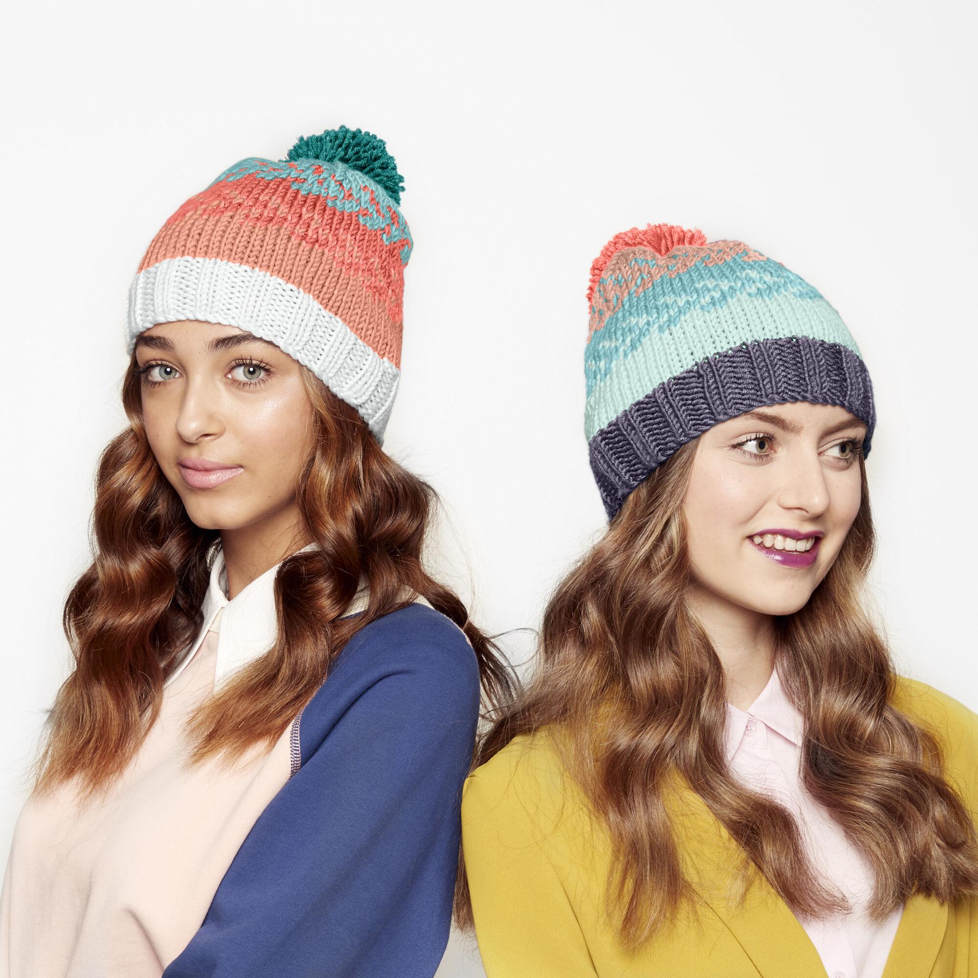 7a6528f11 Caron x Pantone Knit Fair Isle Hat Free Pattern | Yarnspirations
