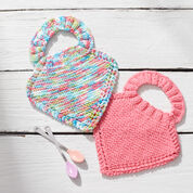 Red Heart Knit Baby Bibs, Pink