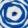 Bernat Maker Outdoor Stripes Yarn, Fresh Royal Blue Stripe - Clearance Shades* in color Fresh Royal Blue Stripe