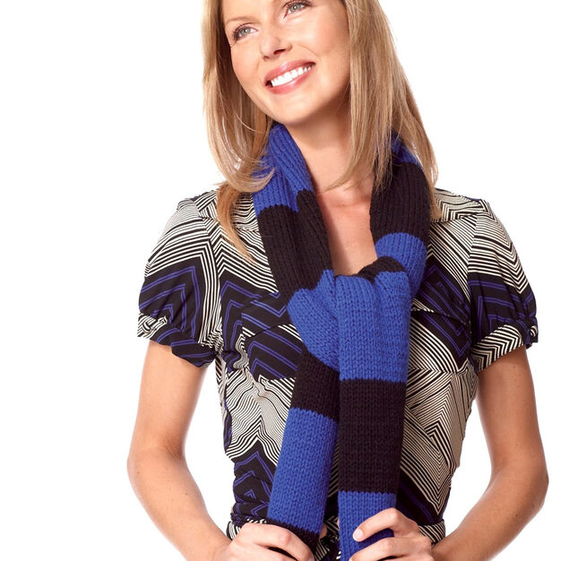 Bernat Quick'n Easy Striped Scarf in color